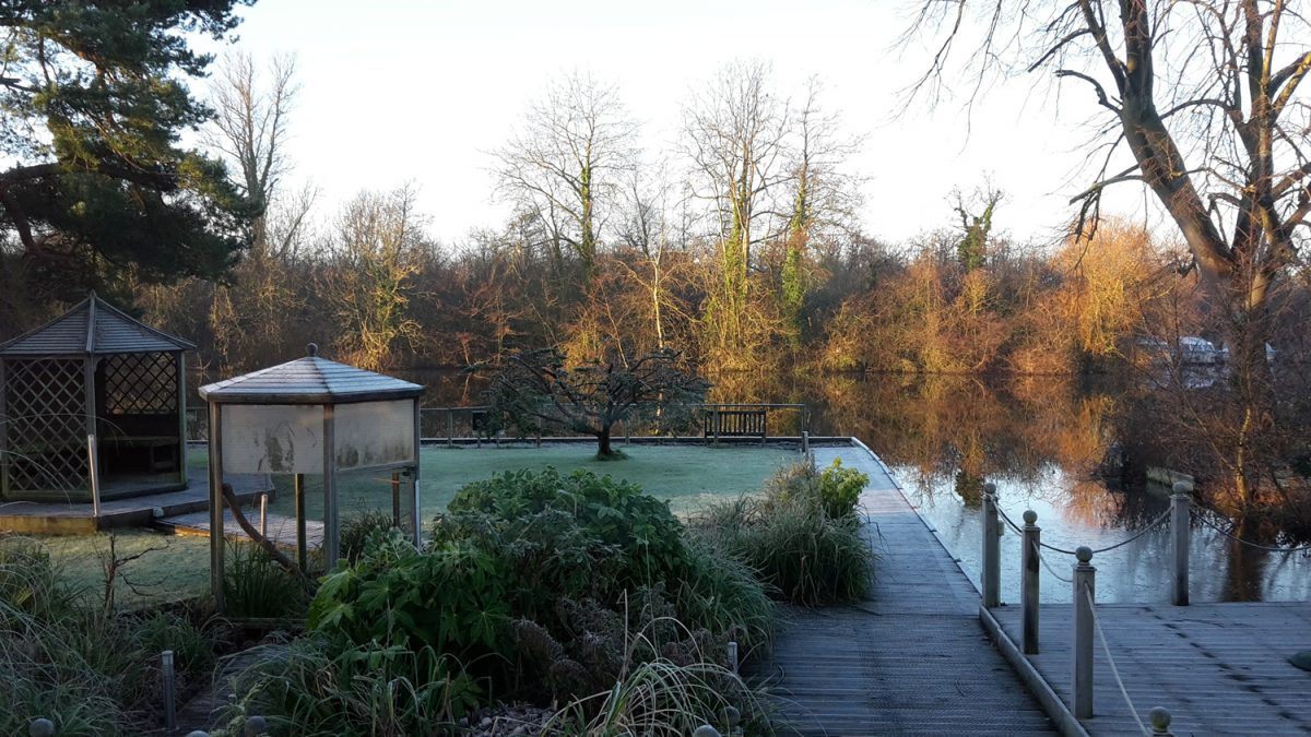 Noosa Sound garden in the frost looking out onto the River Bure