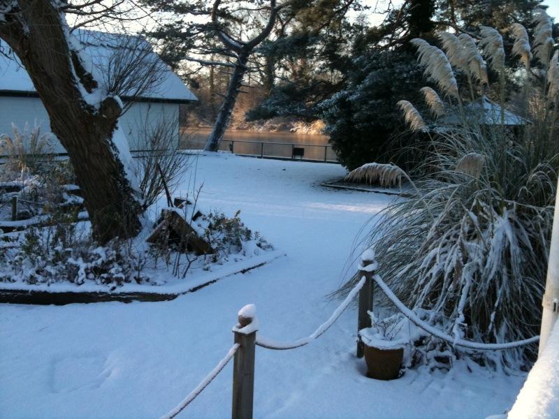 Noosa Sound garden in the snow overlooking main River Bure