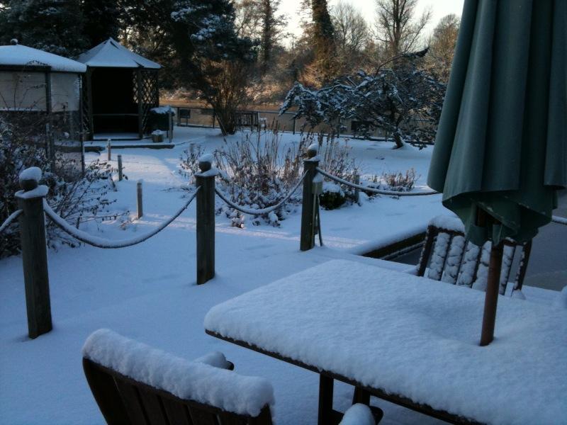 Noosa Sound decking and garden in the snow