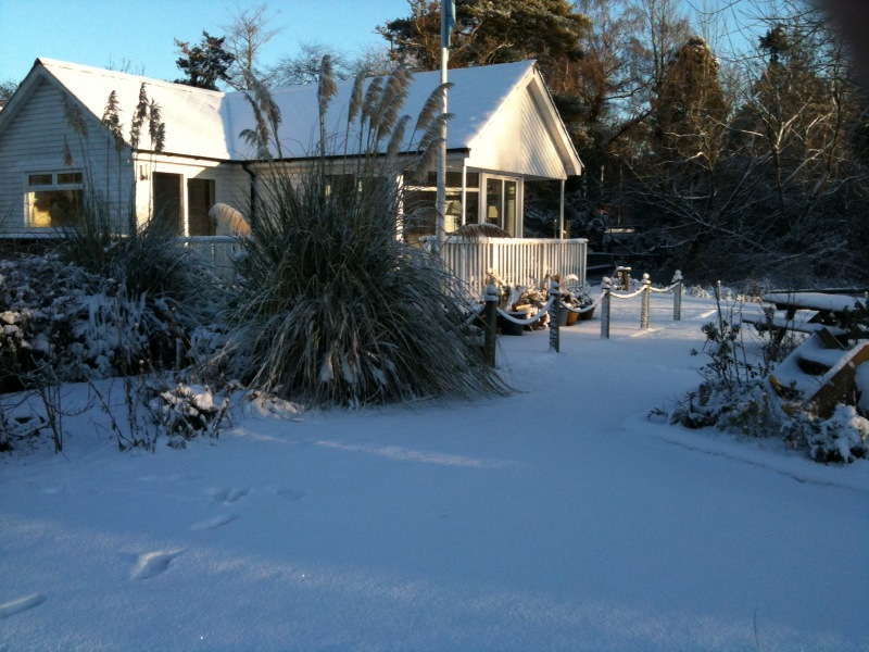 Noosa Sound in the snow, taken from garden looking towards house